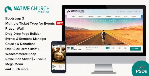NativeChurch主题英文版 WordPress响应式 在线商店主题【v2.9.9.2】